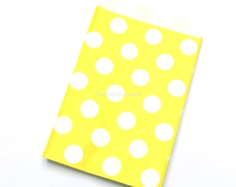 Yellow Polka Dot Favor Bags, 12 Wedding Favor Bags, Baby Shower Favors, Wedding Favors, Yellow Dots Kids Birthday Party,Clearance Sale