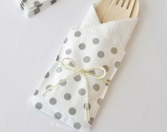 10 Wood Wooden Cutlery Bags w/ Silverware Utensils Table Setting Wedding Kids Birthday Party Baby Shower Favors Paper Goods Grey Polka Dots