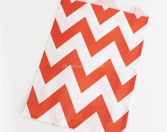 Chevron Favor Bags, Chevron Wedding Favors, RED, 12 Candy Buffet Bags, Baby Shower, Paper Goods, Favors, Kids Party, Popcorn Bag