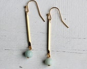 Mint Green Earrings ... Vintage Brass Stick with Gemstone Green Stone