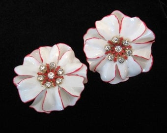 Vintage Huge White and Red Plastic Enamel Rhinestone Flower Earrings