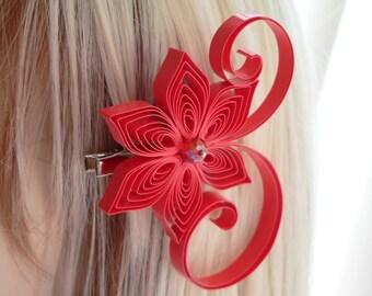 Valentina Wedding Hair Clip, Bright Red Wedding Hair Accessory, Red Hair Clip