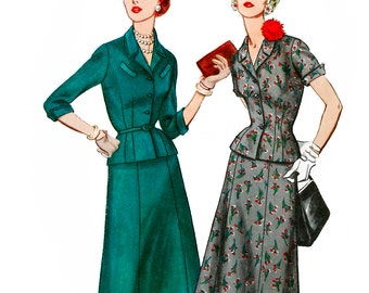 Simplicity 1007 Vintage 50s Misses' and Women's Two-Piece Suit Dress in Half Sizes Sewing Pattern - Bust 33