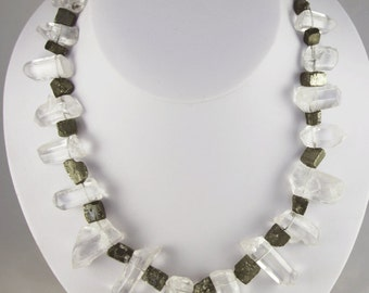QUARTZ CRYSTALS with Pyrite chunks NECKLACE sterling silver clasp wire strung