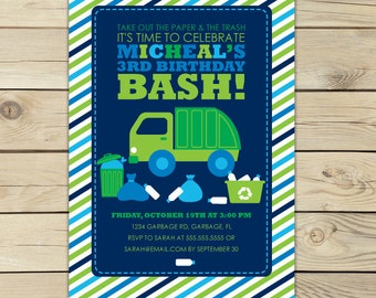 Garbage Truck Invitation Printable - Boy Birthday Invitation - Garbage Truck Party - Garbage Truck Birthday - Truck Birthday Invitation