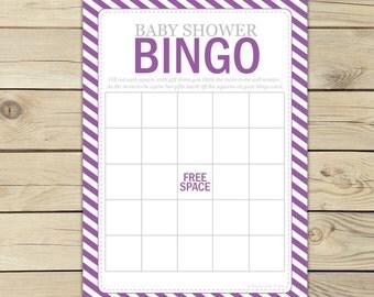 Purple Baby Shower Bingo Game Printable - Baby Bingo Cards - Instant Download - Girl Baby Shower Games - Purple Baby Shower Activities