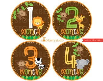 Safari Animals Baby Monthly Bodysuit Sticker or Transfer Printable - Instant Download