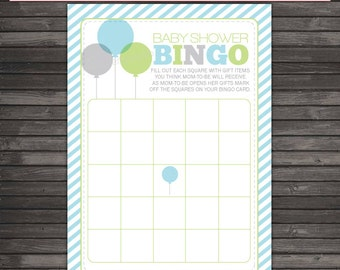 She's Ready To Pop Baby Shower Bingo Game - Gray Green Blue Baby Shower Games Printable - Instant Download - Balloon Boy Baby Shower Games