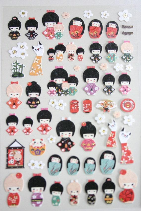 Kokeshi city japanese doll washi fabric texture stickers for Stickers kokeshi