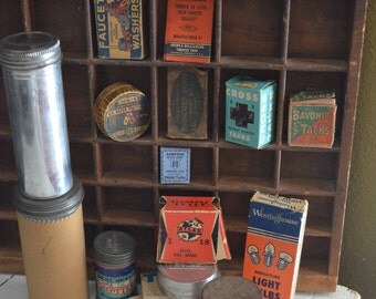 Collection of 14 Vintage Advertising Boxes Canisters Paper Cardboard Blue Red Storage Lot Display Country Store Shop Lids Tacks Pins Tools