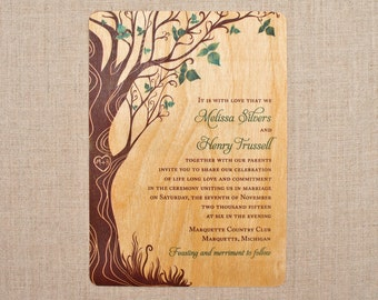 Real Wood Wedding Invitations - Green Curly Tree Vertical