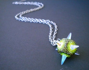 Chlorophyll Pendant Necklace - pressed glass spikes and brick stitch beadwork
