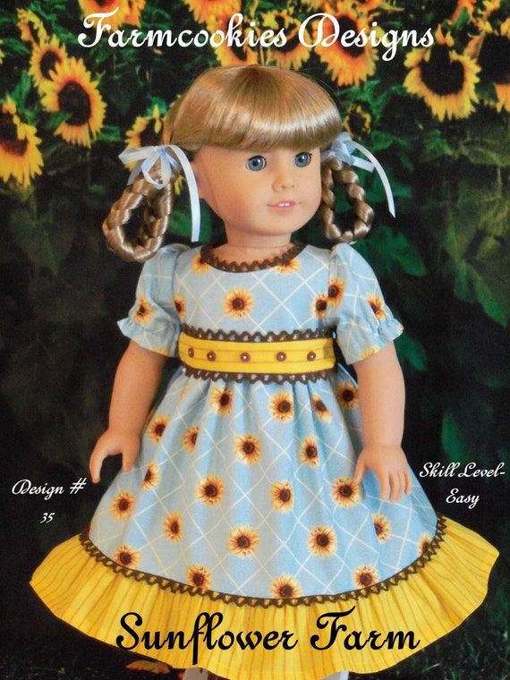 PRINTED Sewing Pattern  / Sunflower Farm/ Clothes for American Girl Kirsten, Marie Grace, Cecile or Addy