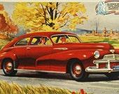 OLDSMOBILE B- 44 Sixty 2-Door CLUB SEDAN, Vintage Full Color Advertisement, 1942