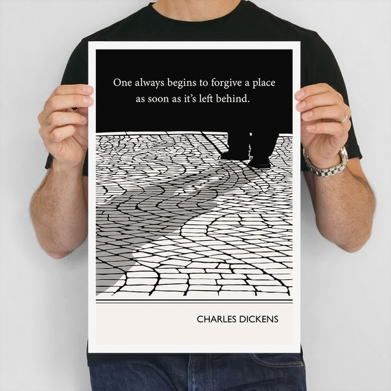 """Literary Quotes Poster """"Charles Dickens"""" Quote, Black and White Art Illustration, Large Wall Art Prints, Typography Print, Literary Gift"""