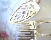 Vintage Wedding, Fairy Tale, Table Setting, Disney Wedding,Silver plate Cake Server, Cake Forks, Hand Stamped, PERSONALIZE and CUSTOMIZE