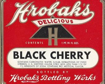 Hrobak's Black Cherry Vintage Soda Label, 1940s