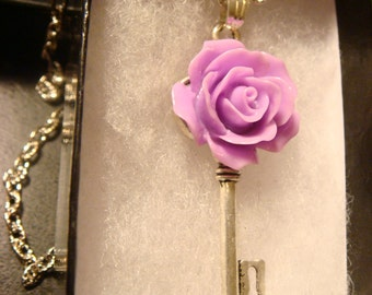 Small Purple Rose Skeleton Key Necklace (1469)