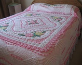Pink Plush - Vintage Chenille Bedspread