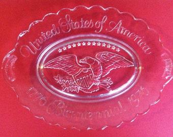 Vintage AVON, USA, Bicentennial Platter, Americana, Clear Glass, Plate, Dish,