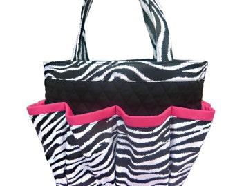 Zebra Bingo Bag with Pink Trim // Craft Organizer // Makeup Organizer // Caddy // Teacher Tote // Nurse Tote