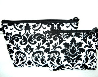 Black and White Damask Makeup and Coin Bag Set
