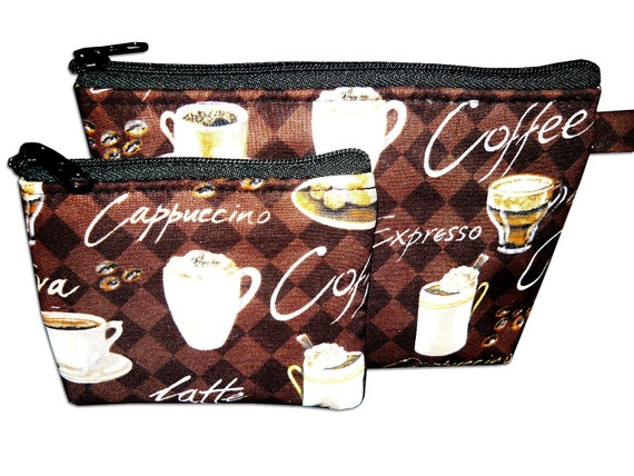 Coffee Lover Makeup and Coin Bag Set