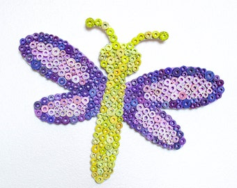Dragonfly Wall Art - Nursery Room Dragonfly Made from Upcycling Magazines