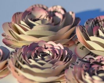Razzberry Pink Inked Music Note Rose Spiral Paper Flowers for Weddings, Bouquets, Events and Crafts