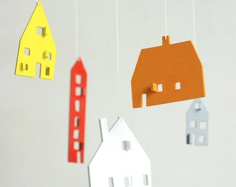 baby mobile, nursery mobile, baby crib mobile, wooden mobile, house mobile