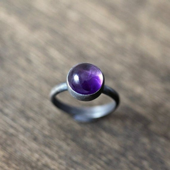 Amethyst Birthstone Ring, February Birthstone Grape Purple Amethyst Gemstone Oxidized Sterling Silver Ring - Ready to ship in Size 5.5