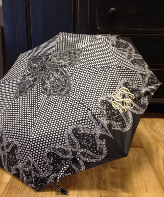 Monogrammed Umbrella in Black and White