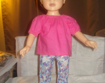 EASY TO DRESS -  Floral leggings and pink Peasant top for 18 inch Dolls - ag138