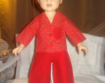 SALE - Holiday pajamas in red and green holly print for 18 inch Dolls - ag212