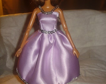 Lilac Satin & silver sequin party dress for Fashion Dolls - ed513