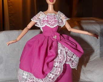 Southern Bell pink formal with lace trim & collar for Fashion Dolls - ed623