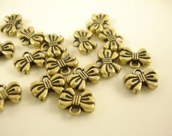 12pcs Antiqued Bronze Bowknot Charm Pendant 12x10mm SB-513