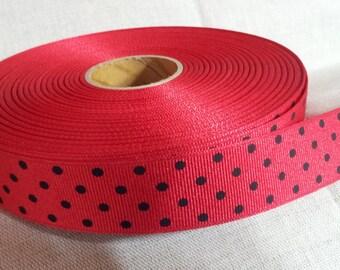 "10 YDs x 1"" Black Polka Dots Swiss Dots on Red Grosgrain"