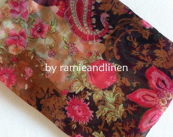 """silk fabric, crinkle georgette pure silk fabric, floral print, golden delineated, scarf fabric, half yard by 55"""""""