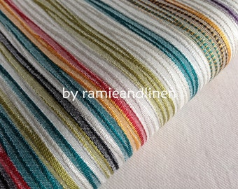 "silk fabric, weaved colorful stripes, very special silk cotton blend fabric, one yard by 44"" wide"