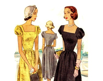 Vintage 1950s Party Dress Pattern Bust 34 Size 14 McCalls 7167