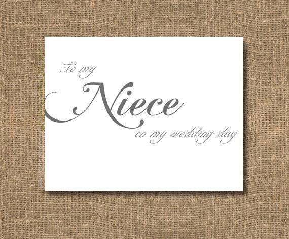 To My Niece On My Wedding Day Card Classic Wedding Stylish  Niece