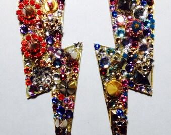 Lighting Bolt Earrings Custom made with Swarovski Elements  Multi Color