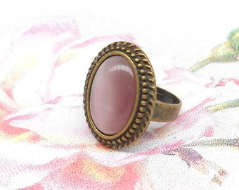 purple cabochon ring boho ring purple ring mauve ring bronze ring cottage chic adjustable lilac ring ring bronze and purple ring lilac