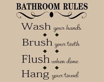Bathroom Rules - Vinyl Lettering wall words graphics  decals  Art Home decor itswritteninvinyl