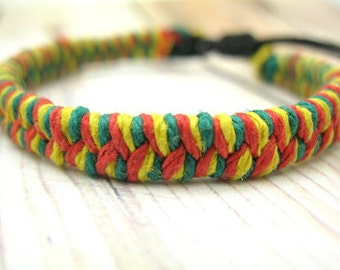 Rasta Hemp Bracelet, Simple Woven Adjustable Friendship Bracelet