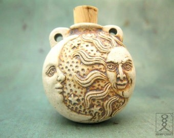 Sun and Moon Ceramic Bottle Pendant, High Fired Clay Vessel, 1pc
