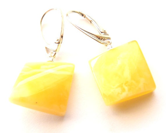 Baltic Amber Earrings Squared Butterscotch Dangling 1.45″ 925 Silver