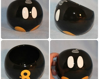 Bob-omb Ceramic Tilted Bowl (Made to Order and Customizable)