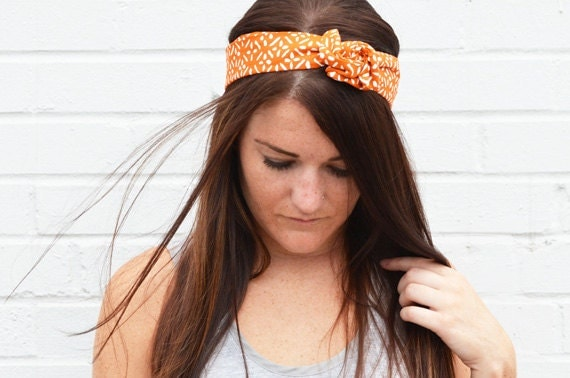 Twist Hair Scarf - Screenprinted Wire Headband - White on Burnt Orange - UT Football